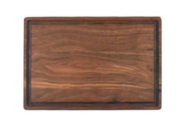 Walnut small board with rounded edges and juice groove