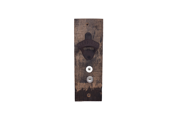 Whiskey Barrel Stave Wall Mount Bottle Opener with Magnet Catcher