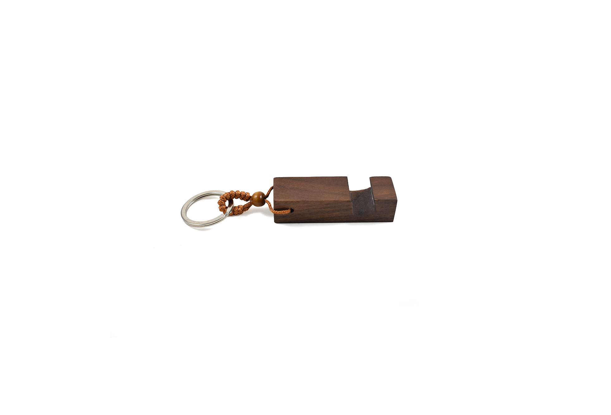 Walnut wood keychain with mobile phone holder