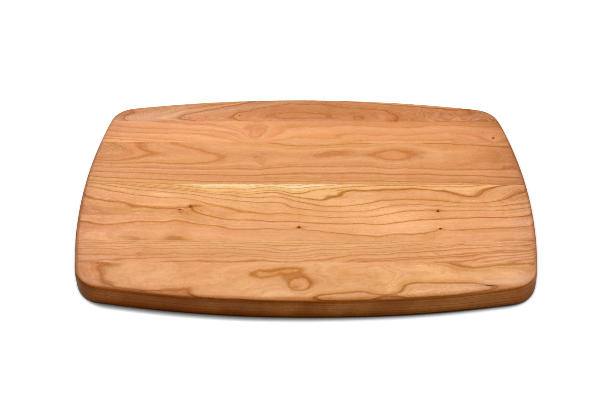 Cherry large rectangular curved cutting board with rounded corners