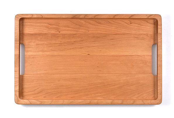 Cherry wood serving tray with lacquer finish