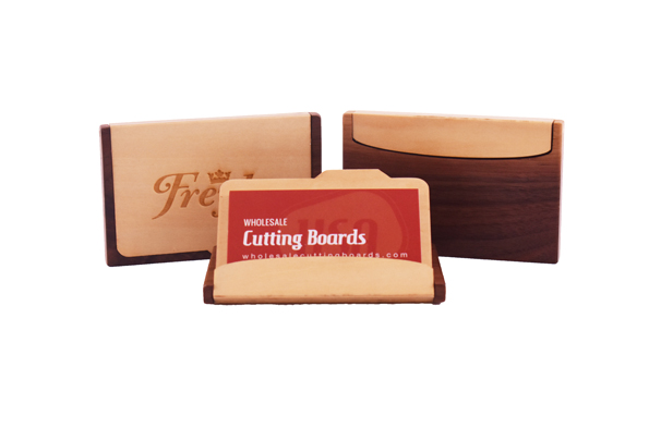 Wood business card holder - maple & walnut