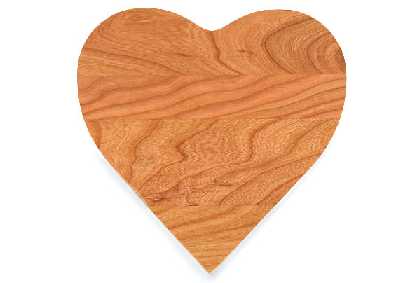 Novelty heart shaped cherry cutting board