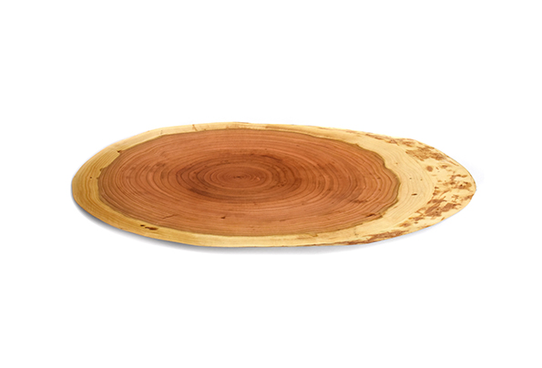 Debarked cherry wood serving/cutting board