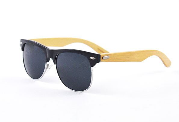 Polarized Sunglasses with bambooarms rounded frames