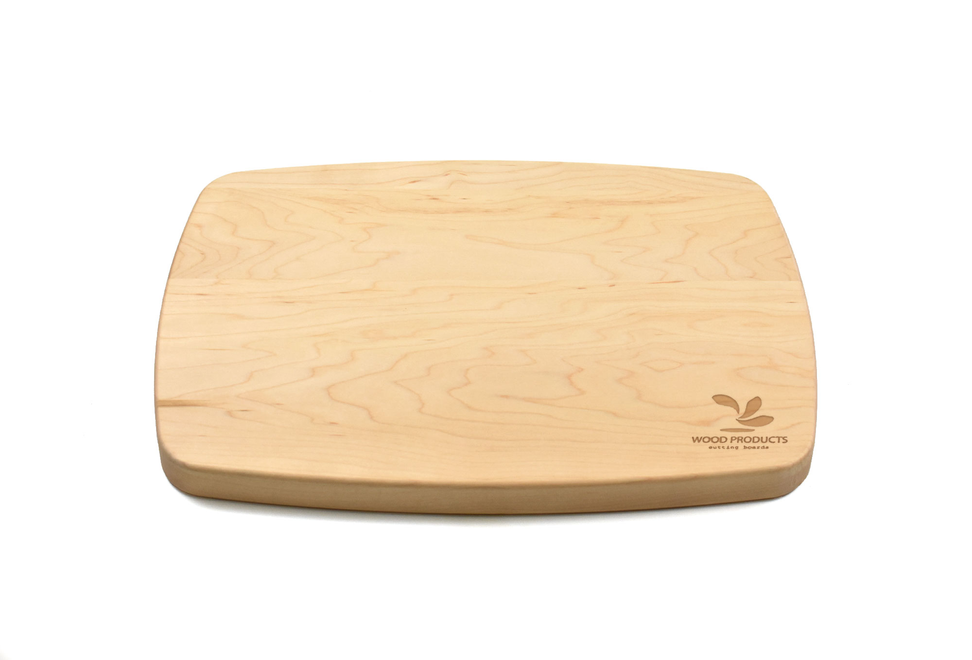 Maple rectangular curved cutting board with rounded corners Engraved