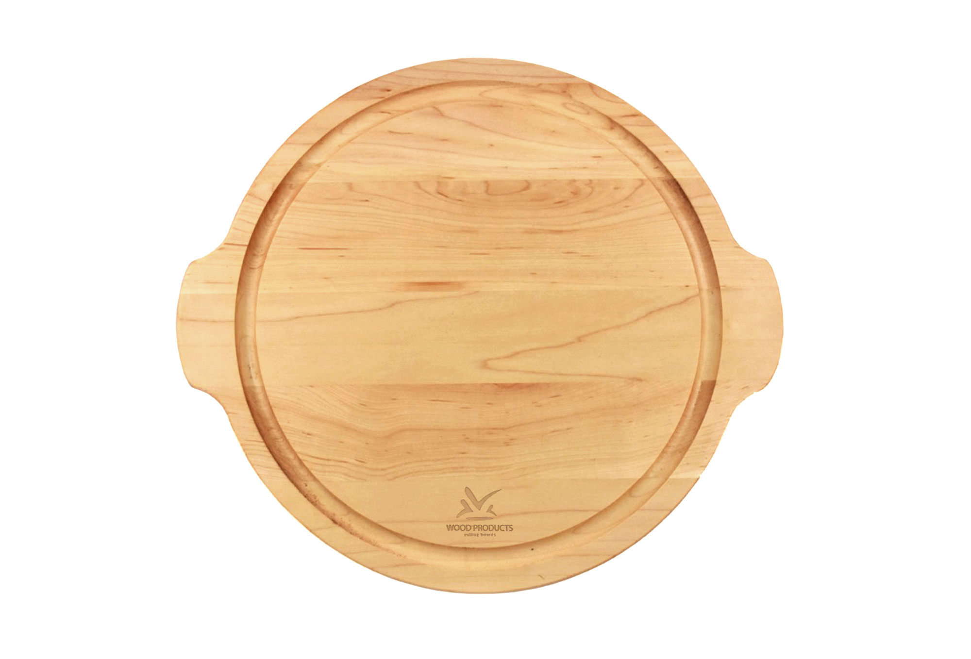 Round Cutting Board with handles & Juice Groove Engraved
