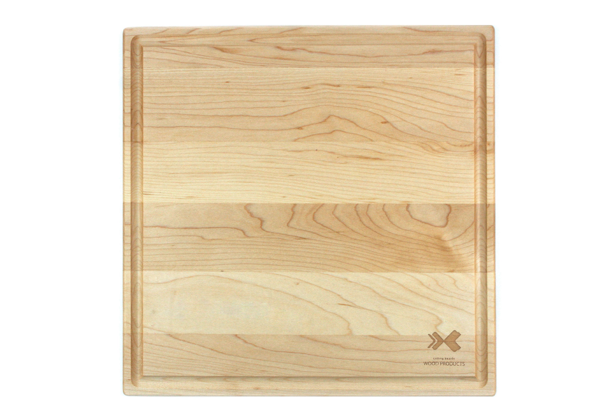 Square maple cutting board with rounded corners & juice groove Engraved