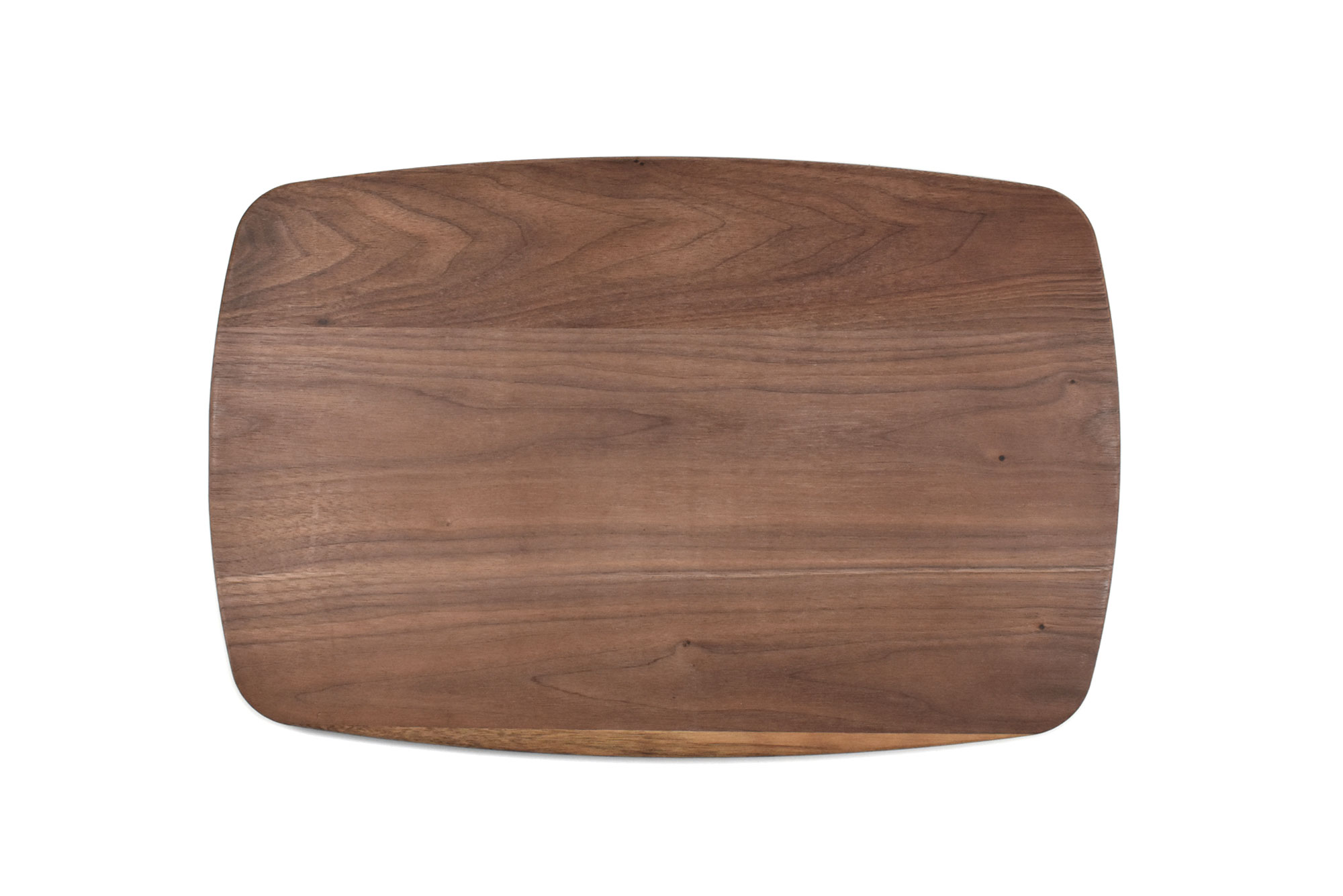 Walnut large rectangular curved cutting board with rounded corners