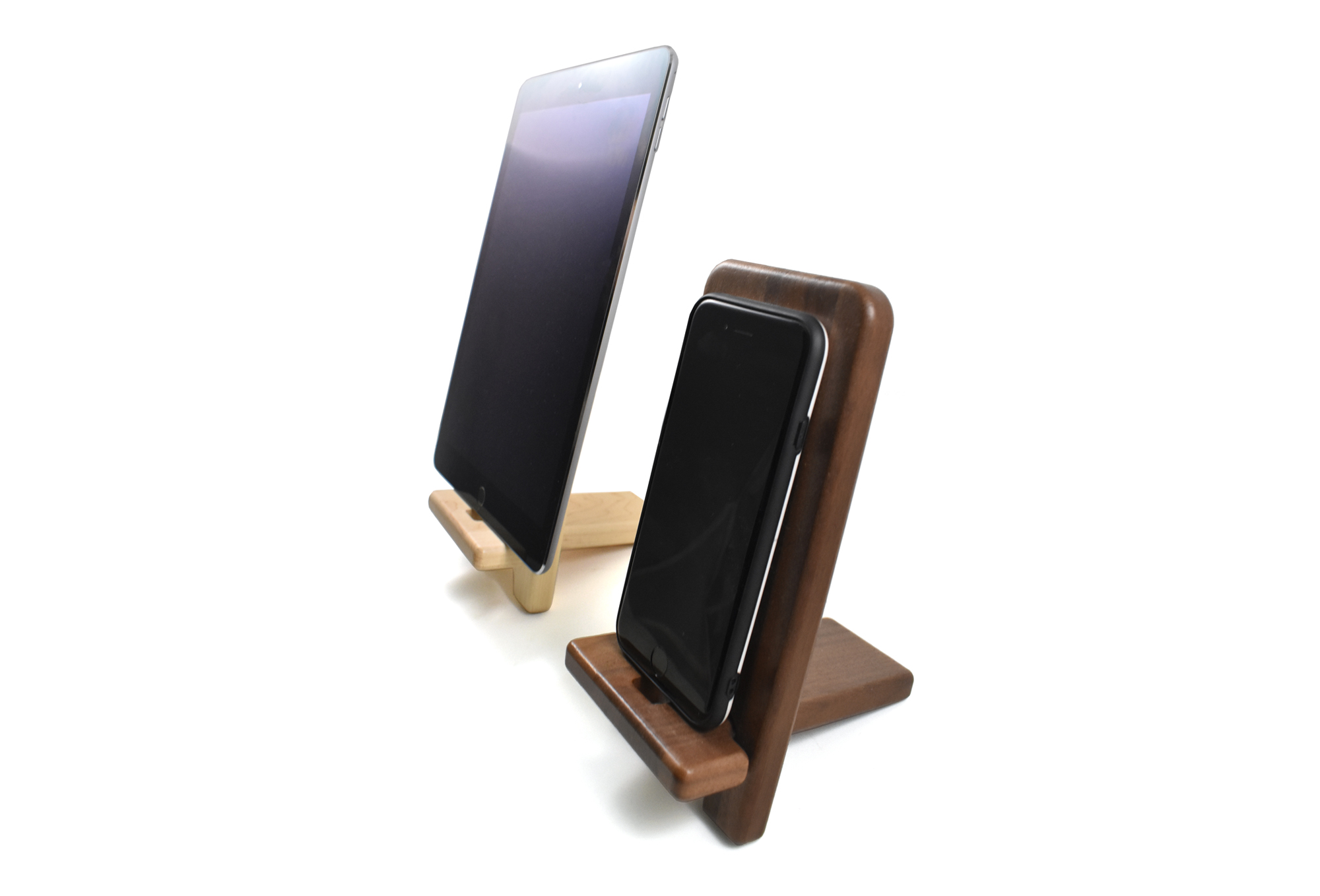 Walnut and Maple Mobile phone stand
