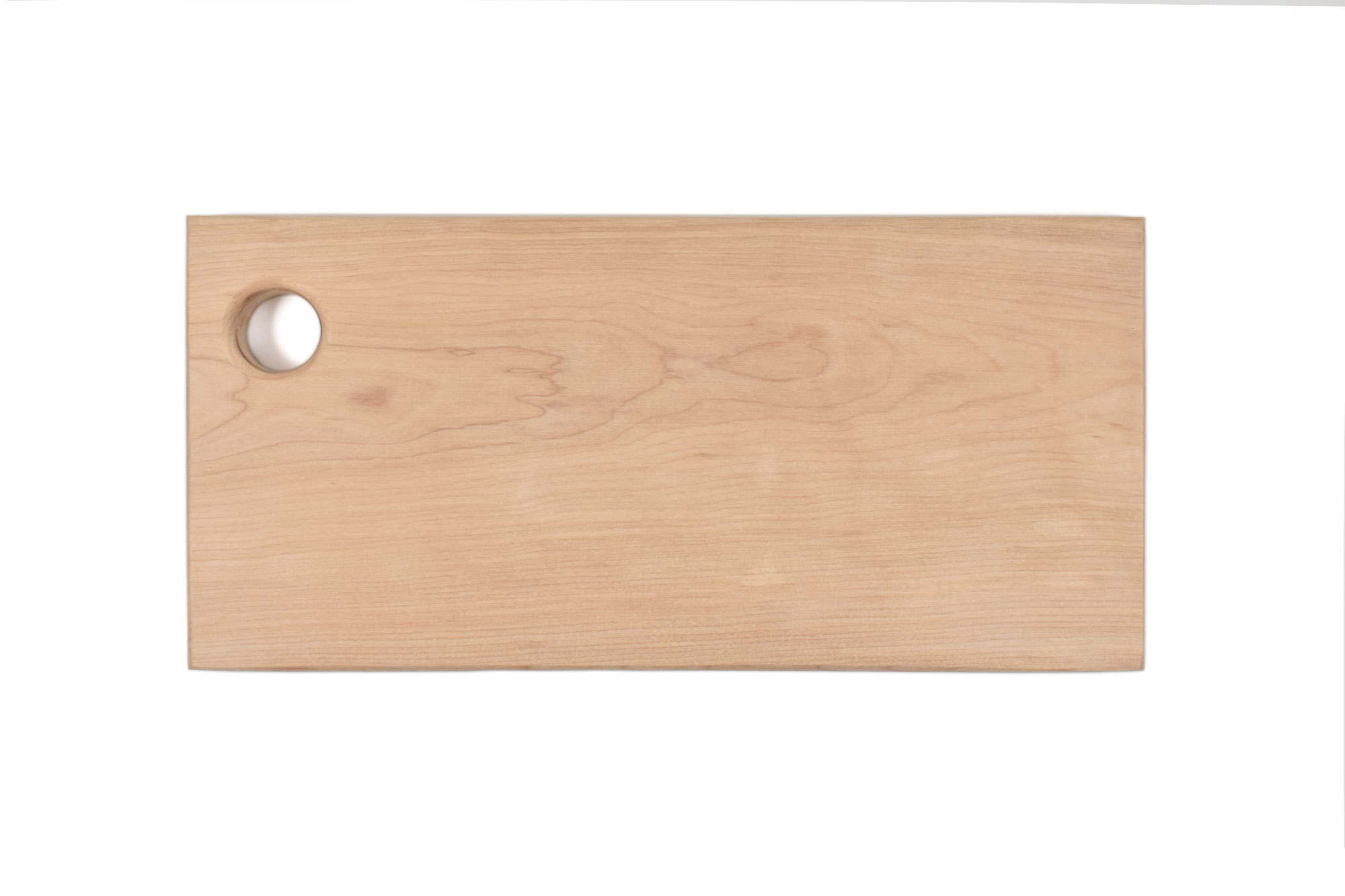 Artisan Yellow Birch wood cutting board with hole