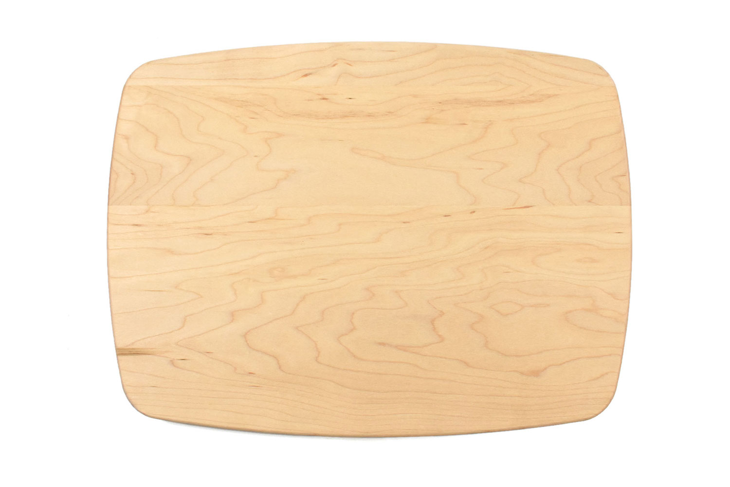 Maple rectangular curved cutting board with rounded corners
