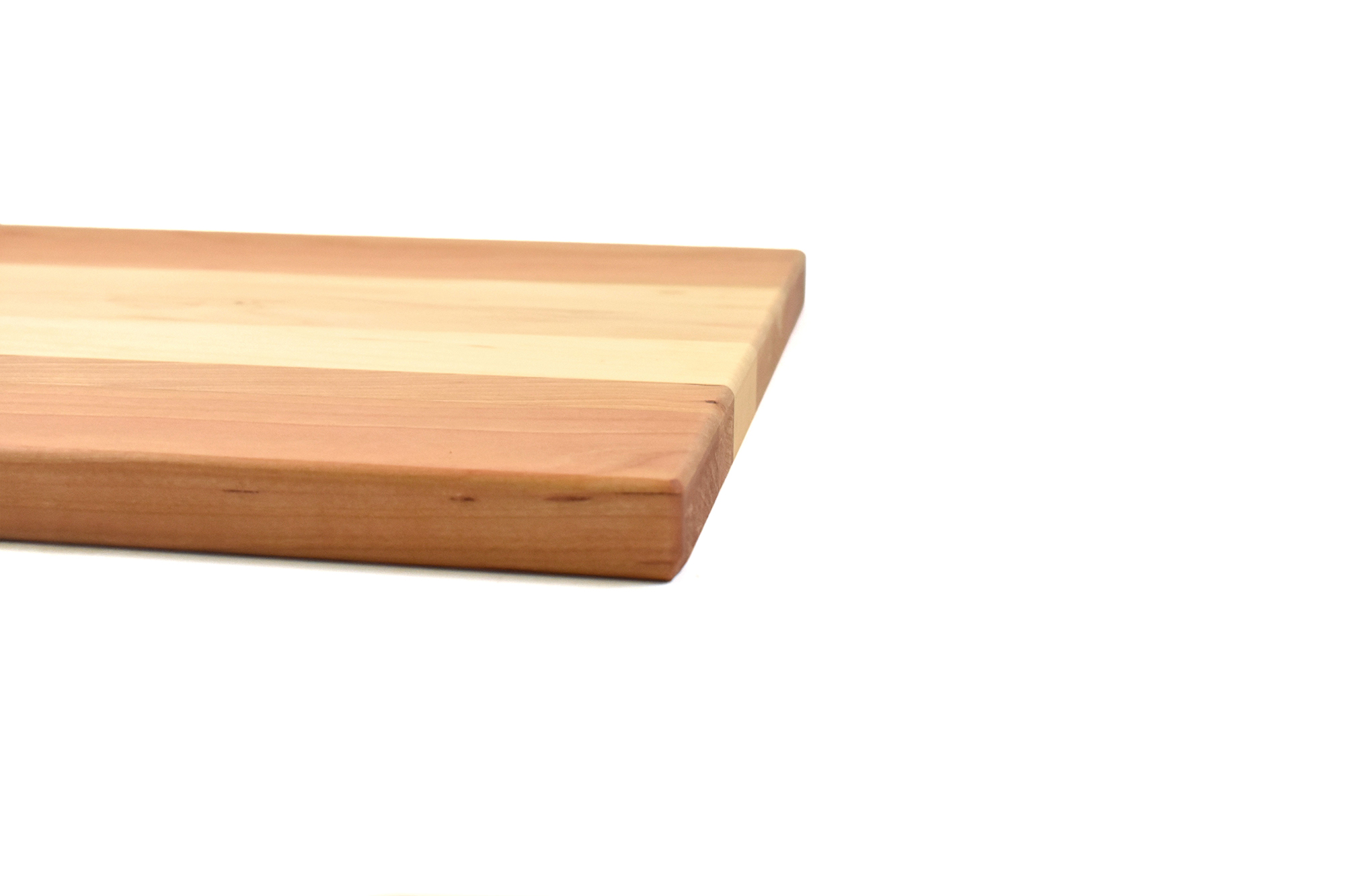 Multi wood species cutting board - Cherry wood ends with Maple wood in the middle